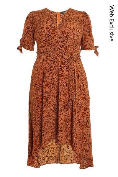 Curve Rust Animal Wrap Midi Dress